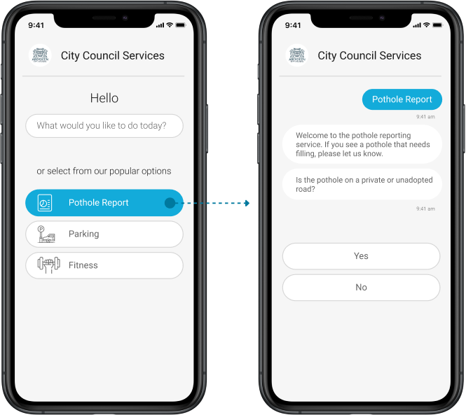 Chatbots for transactions or processes